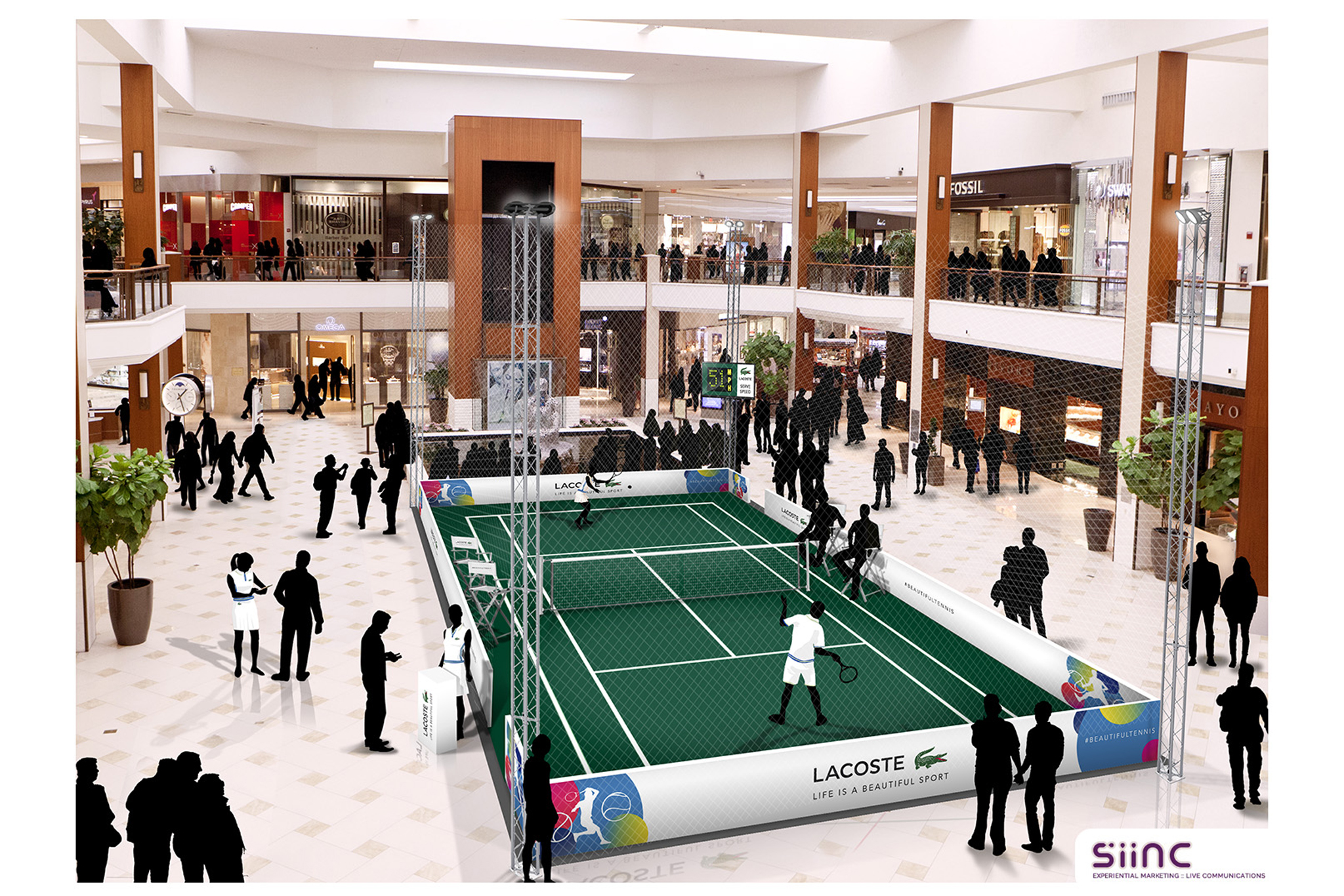 Lacoste rendering of tennis court at Aventura Mall in Miami.