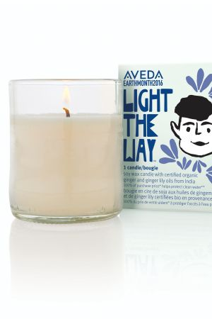 Aveda's Light the way candle for Earth Month