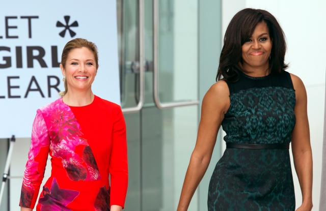 Michelle Obama and  Sophie Gregoire-Trudeau.