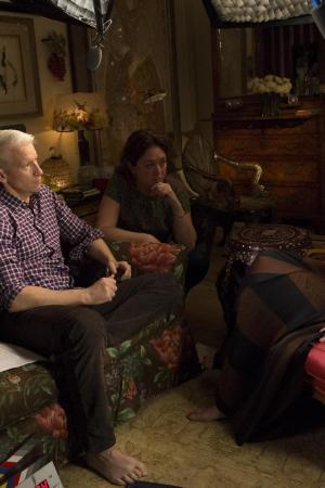 Anderson Coop quizzes his mother Gloria Vanderbilt as filmmaker Liz Garbus looks on.