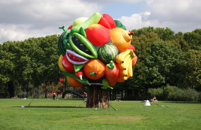 """Choi Jeong Hwa's """"Fruit Tree"""" near Faneuil Hall in Boston."""