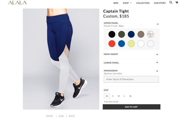 "Alala's ""Alala Carte"" program allows consumers to build their own tights."