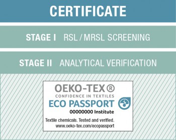 The Oeko-Tex Eco Passport certificate.