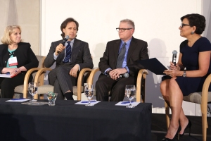 Mary Hennessy, CEO and president Industrial Fabrics Association International, DavidLauren, Joshua M. Walden, senior vice president and general manager of the new technology group, Intel and Penny Pritzker.