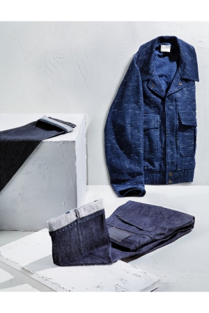 A slow denim jacket from story (top). Bottoms from maison renhsen (far left) and a look from ink (left).