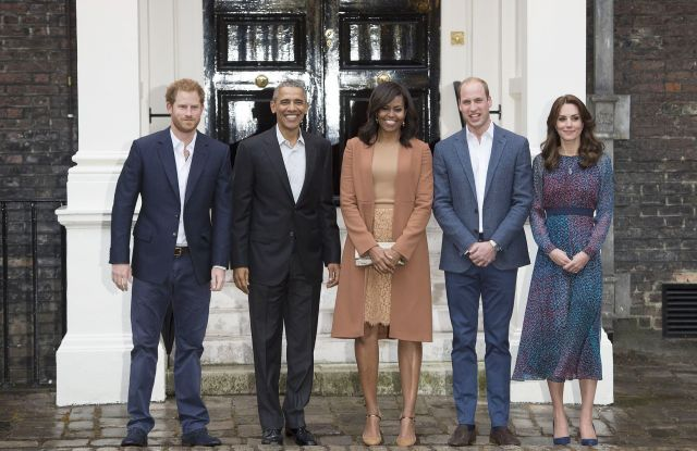 Prince Harry, President Barack Obama, First Lady Michelle Obama, the Duke and Duchess of Cambridge