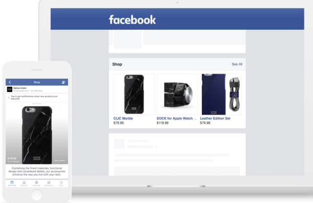 """BigCommerce merchants can add a """"Shop"""" section to their Facebook Page."""