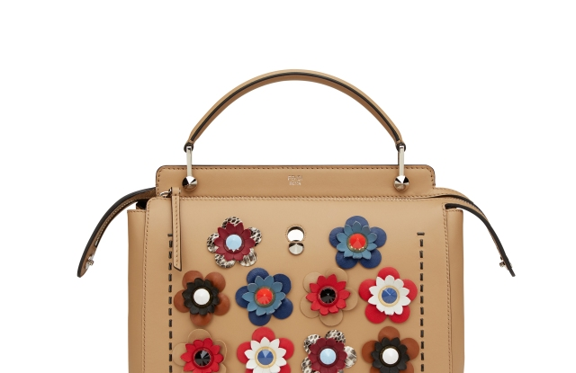 Camel leather 'Dotcom' bag with embroidered flowers