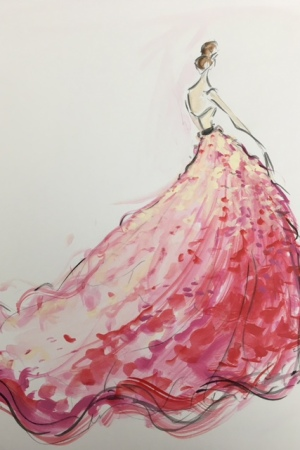 A rendering from Christian Siriano's new bridal collection.
