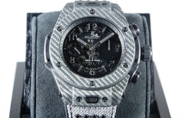 A watch on display inside the Hublot Fifth Avenue flagship.