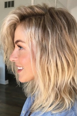 Julianne Hough with a perm given to her by hairstylist Riawna Capri using Olaplex.