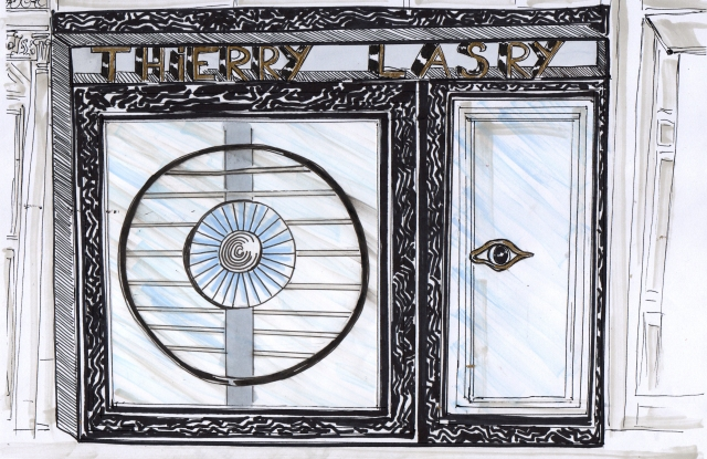 A sketch of the facade of Thierry Lasry's store