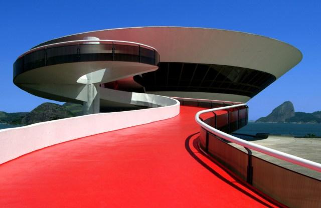 A view of the Niterói Contemporary Art Museum in Rio de Janeiro.