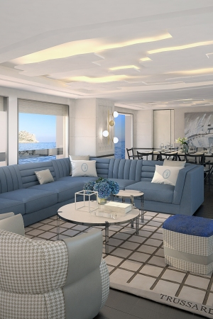 A rendering of the Trussardi interior project for Dynamic Yachts