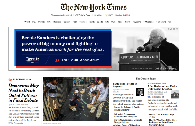 The New York Times Homepage.