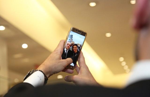 Social media superstar Sheikh Majed Al-Sabah sent off selfie snaps with fans in Bergdorf's beauty department.