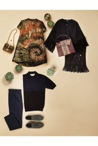 Adam Lippes black fringed jacket and skirt; Charlene Court Designs Ruby Conundrum Talon ring; Valentino tribal bag crossbody; Valentino Tribal bag midsized tote; Designs