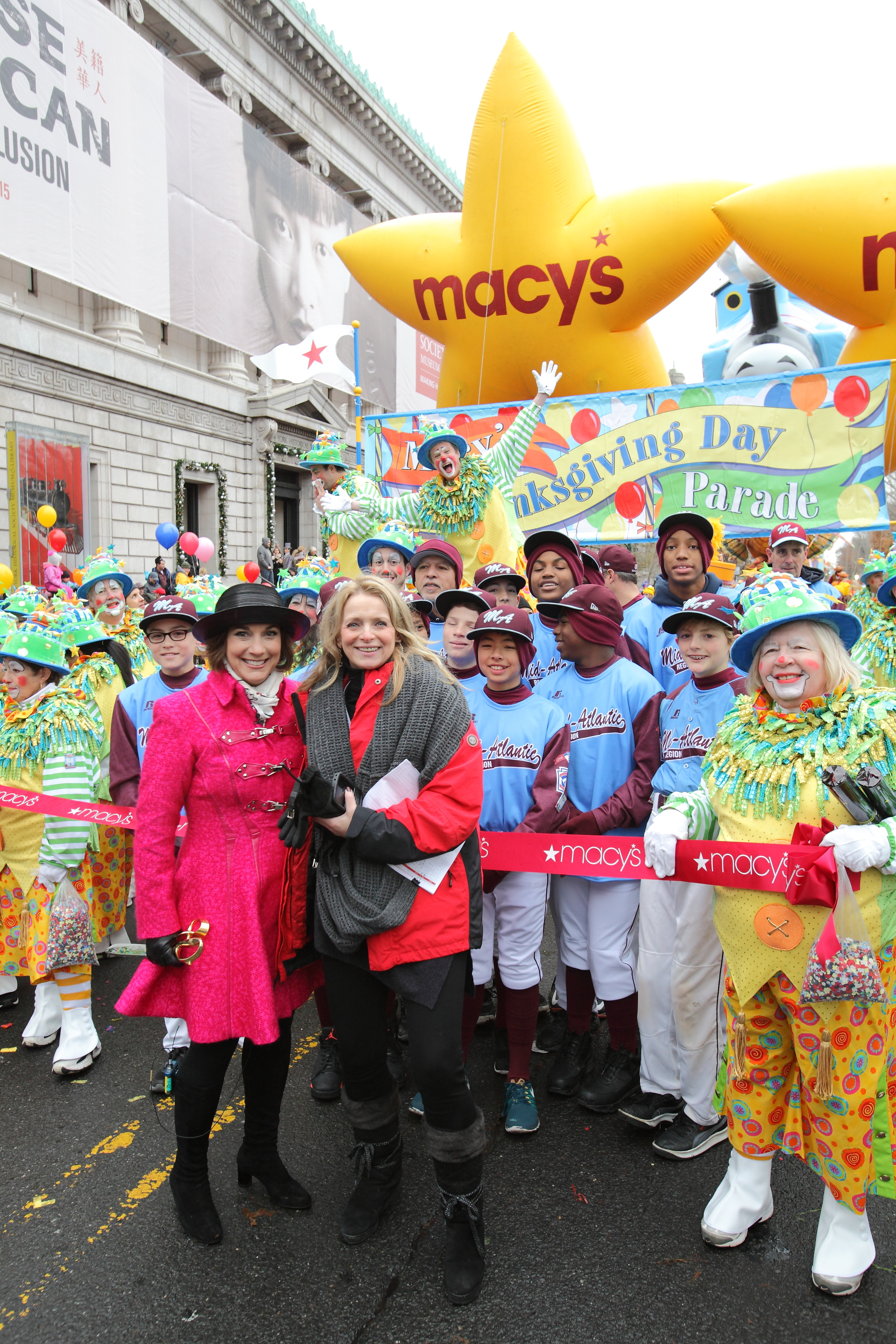Martine Reardon with Macy's Amy Kule [left] at the Macy's Thanksgiving Parade in 2014.