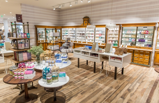 A beauty department at an expanded Anthropologie store.