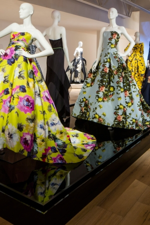 "A display from the installation of ""Carolina Herrera: Refined Irreverence"" at SCAD FASH and SCAD Museum of Art."