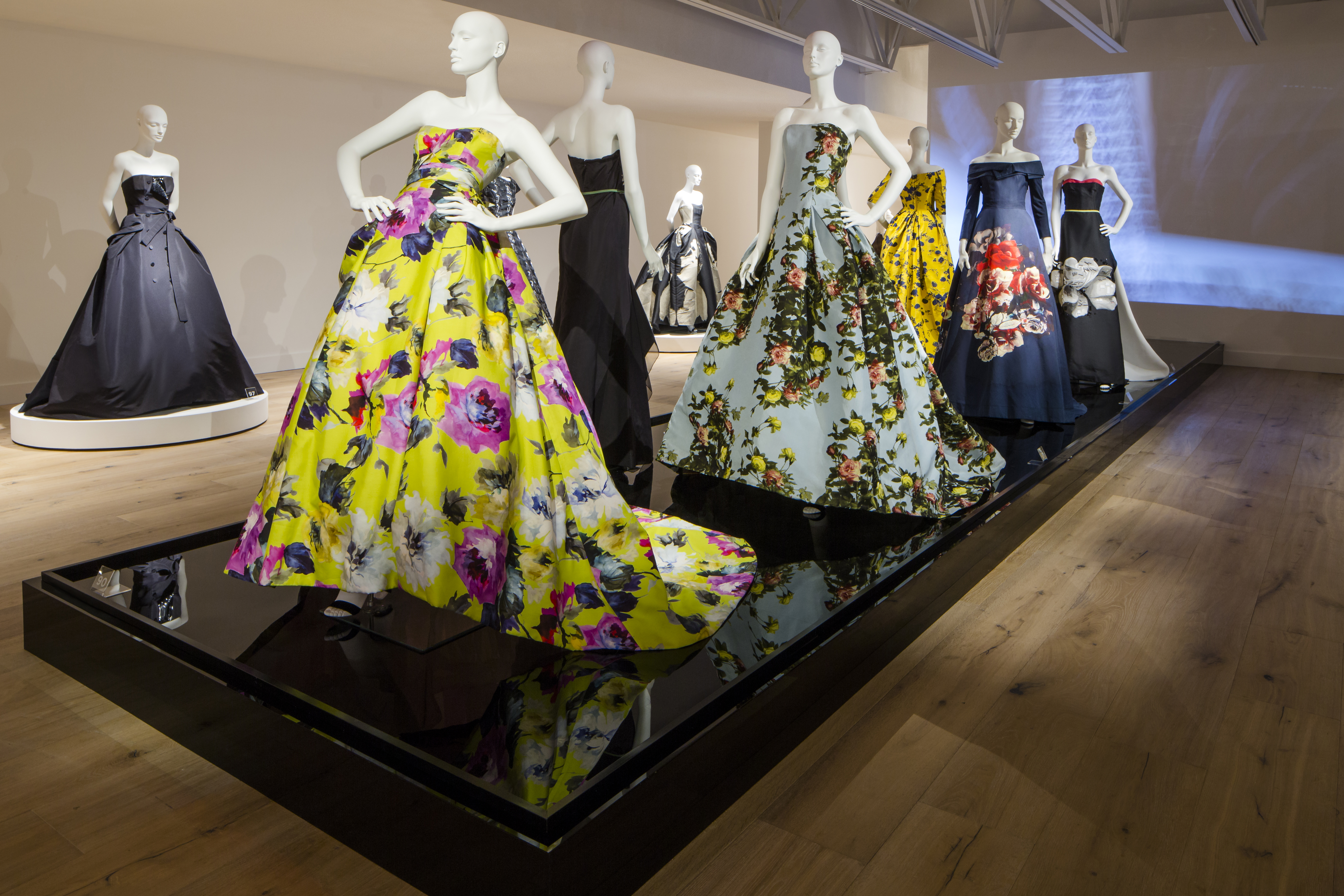 """A display from the installation of """"Carolina Herrera: Refined Irreverence"""" at SCAD FASH and SCAD Museum of Art."""