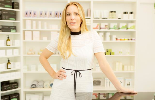 Cayli Cavaco Reck in her new Bridgehampton pop-up shop, Knocking on Beauty.