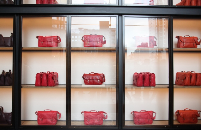 The display case in the Coach lobby at Hudson Yards.