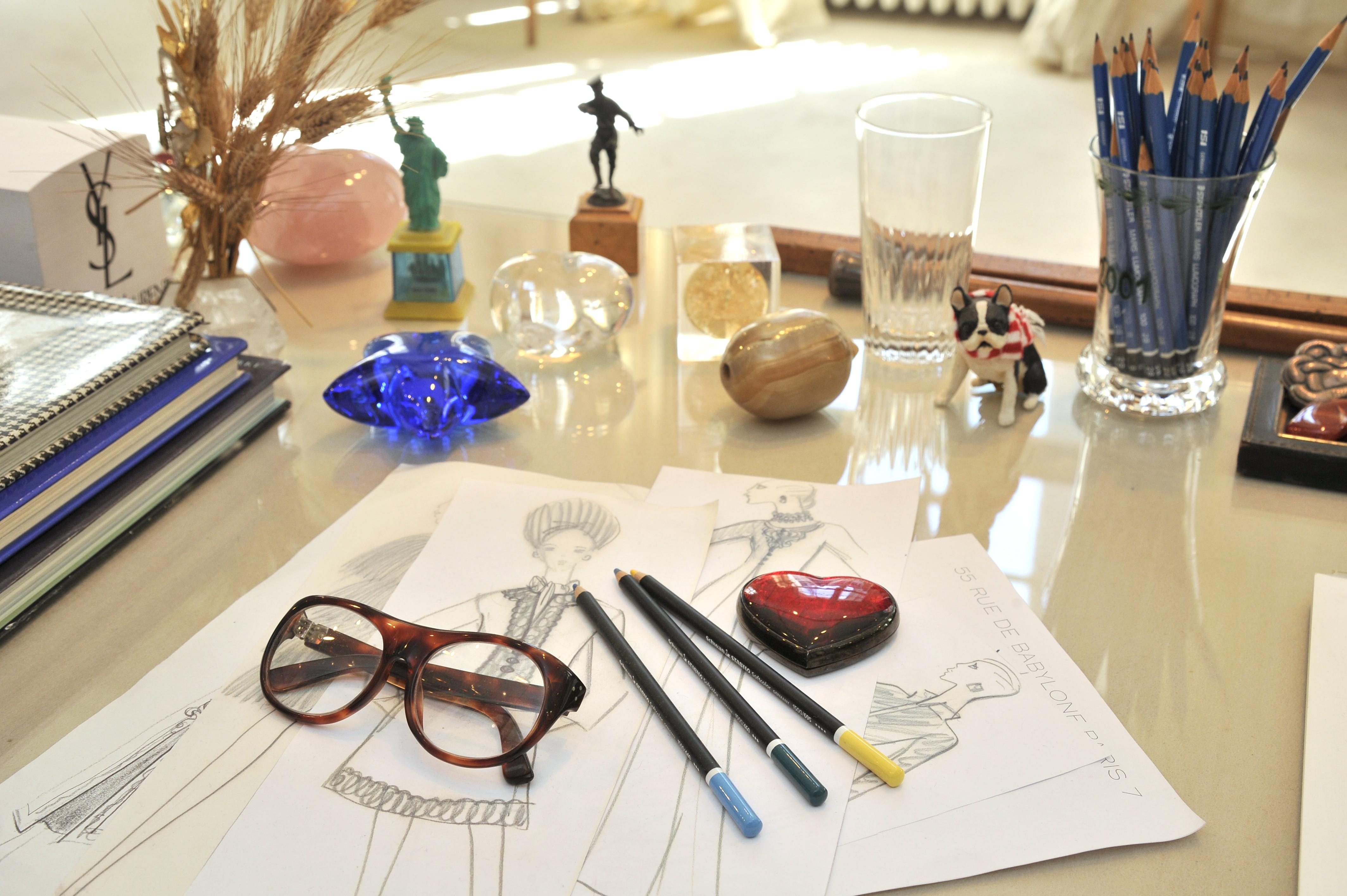 Items from Yves Saint Laurent's studio.