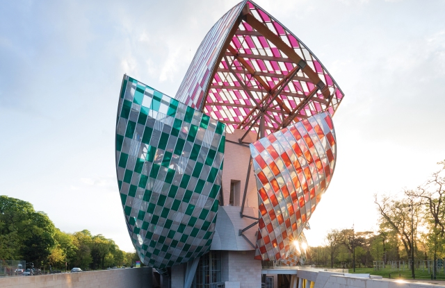 Fondation Louis Vuitton in Paris. Installation by Daniel Buren.