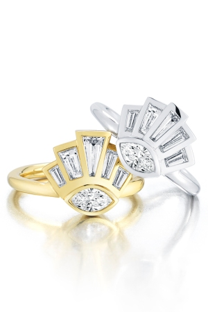 Finn's Eye of Providence Rings in 18k white and yellow gold with diamonds.