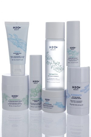 An assortment of H2O Plus Beauty's newly reformulated products.