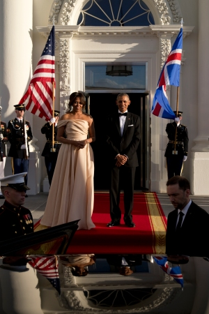 President Obama and the First Lady in a Naeem Khan gown.