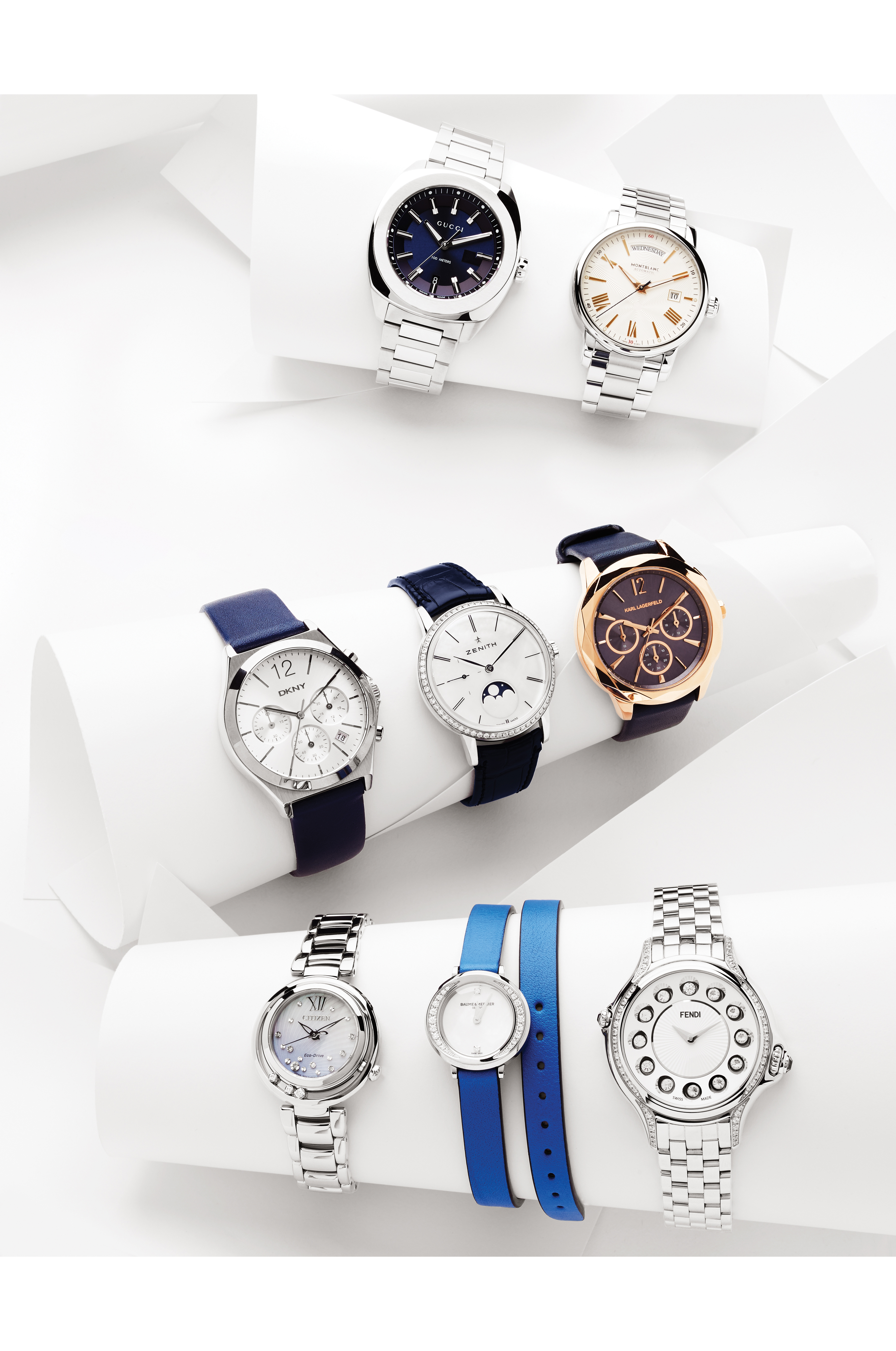 Top row (left to right): Gucci, Montblanc. Middle row: DKNY, Zenith (with diamond bezel), Karl Lagerfeld. Bottom row: Citizen, Baume & Mercier, Fendi (all with diamond bezels).