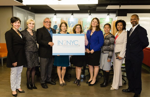 Deputy Mayor Alicia Glen and NYCEDC president Maria Torres-Springer with CUNY and Zahn Center staff.
