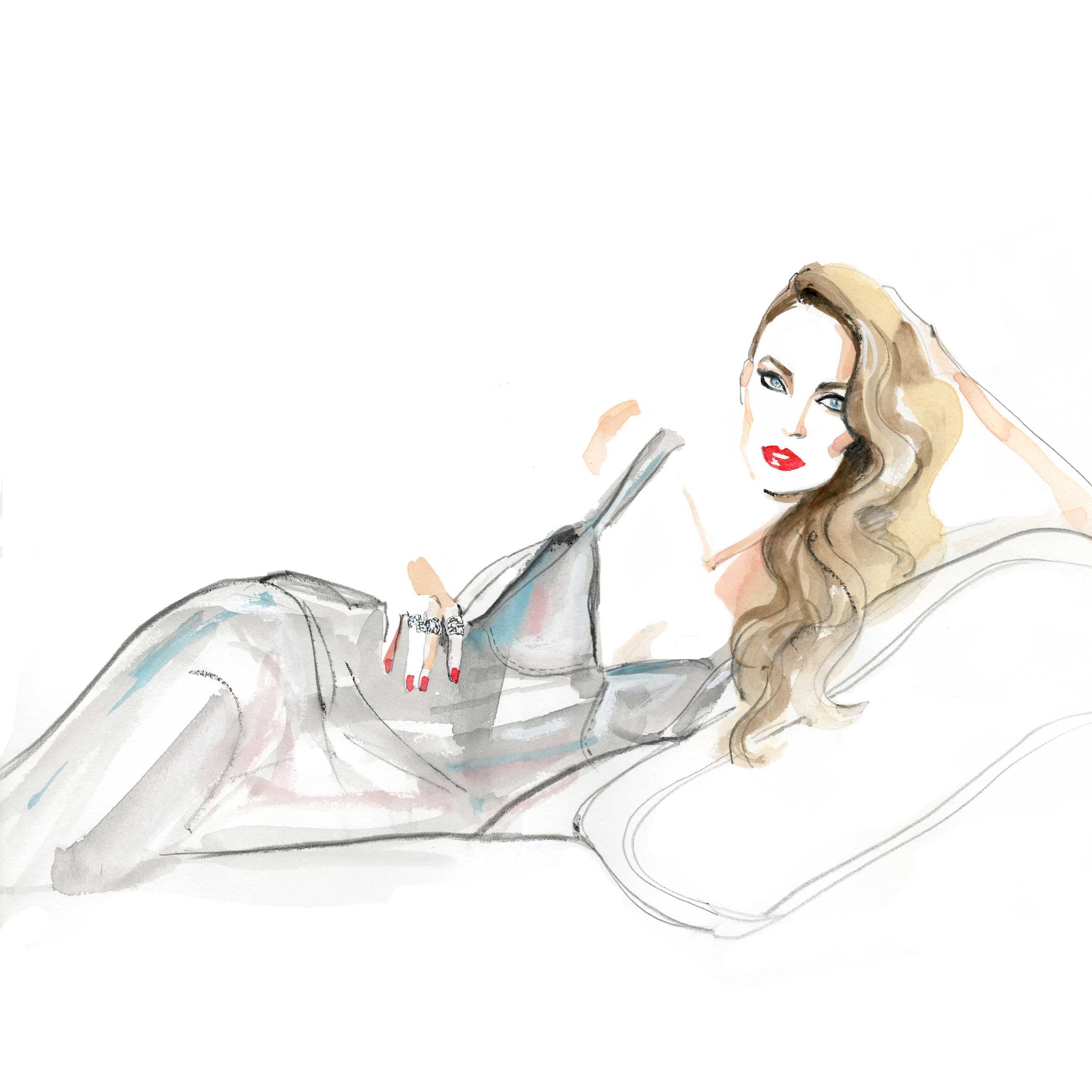 Cannes 2016: A sketch of Jerry Hall in Calvin Klein Collection