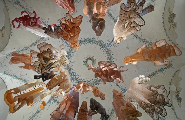 Dosa's Christina Kim's Tikdi shawl using jamdani scraps was part of Cooper-Hewitt Smithsonian Design Museum exhibition.
