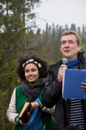 David Mitchell at the Future Library Handover Ceremony outside of Oslo.