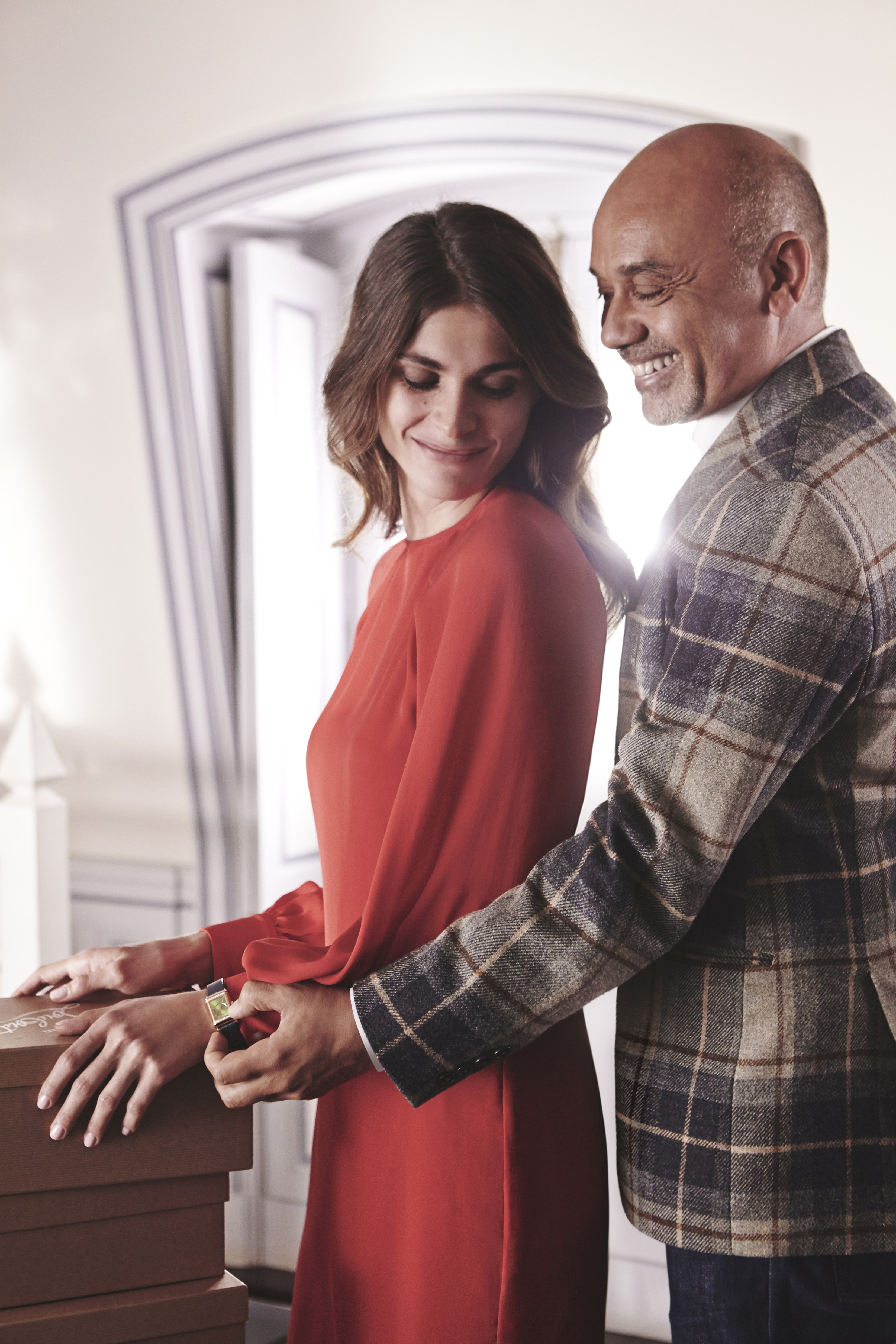 """Elisa Sednaoui and Christian Louboutin during the making of """"Reverso by Christian Louboutin"""""""
