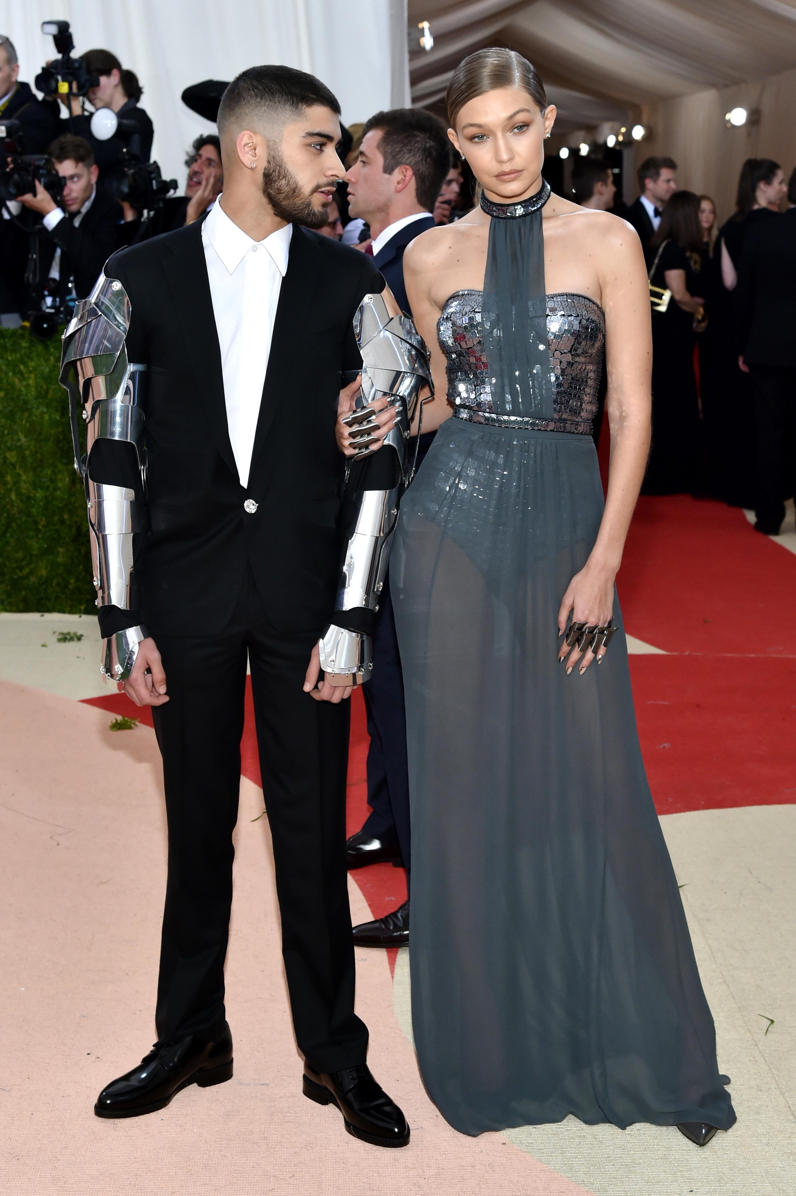 Zayn Malik with Gigi Hadid in Tommy Hilfiger at met gala 2016