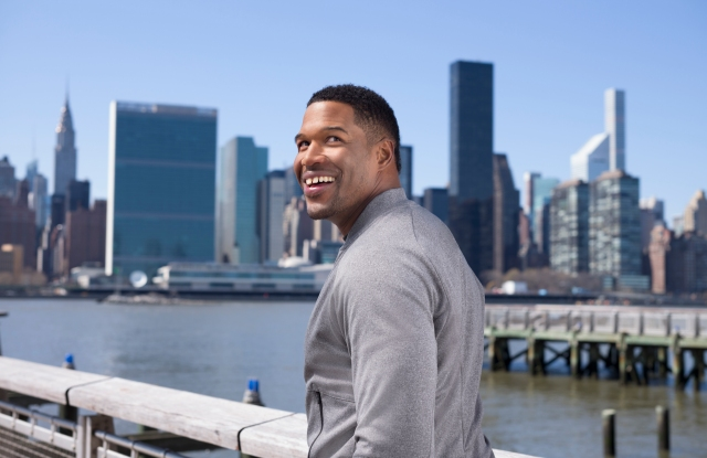 Michael Strahan wearing a look from MSX.