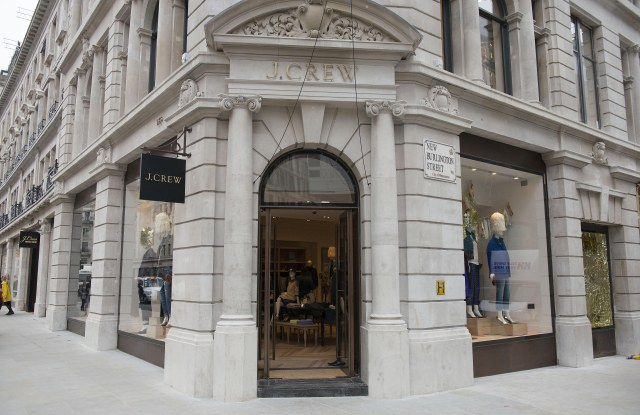 Outside the J. Crew store on Regent Street.