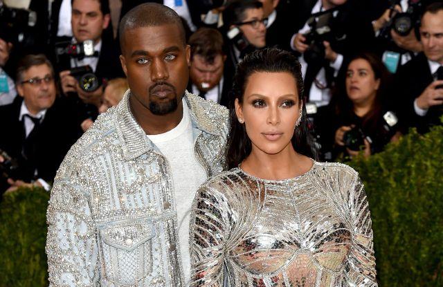 Kanye West with Kim Kardashian in Balmain at met gala 2016