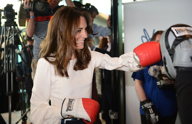 The Duchess of Cambridge dons a pair of boxing gloves