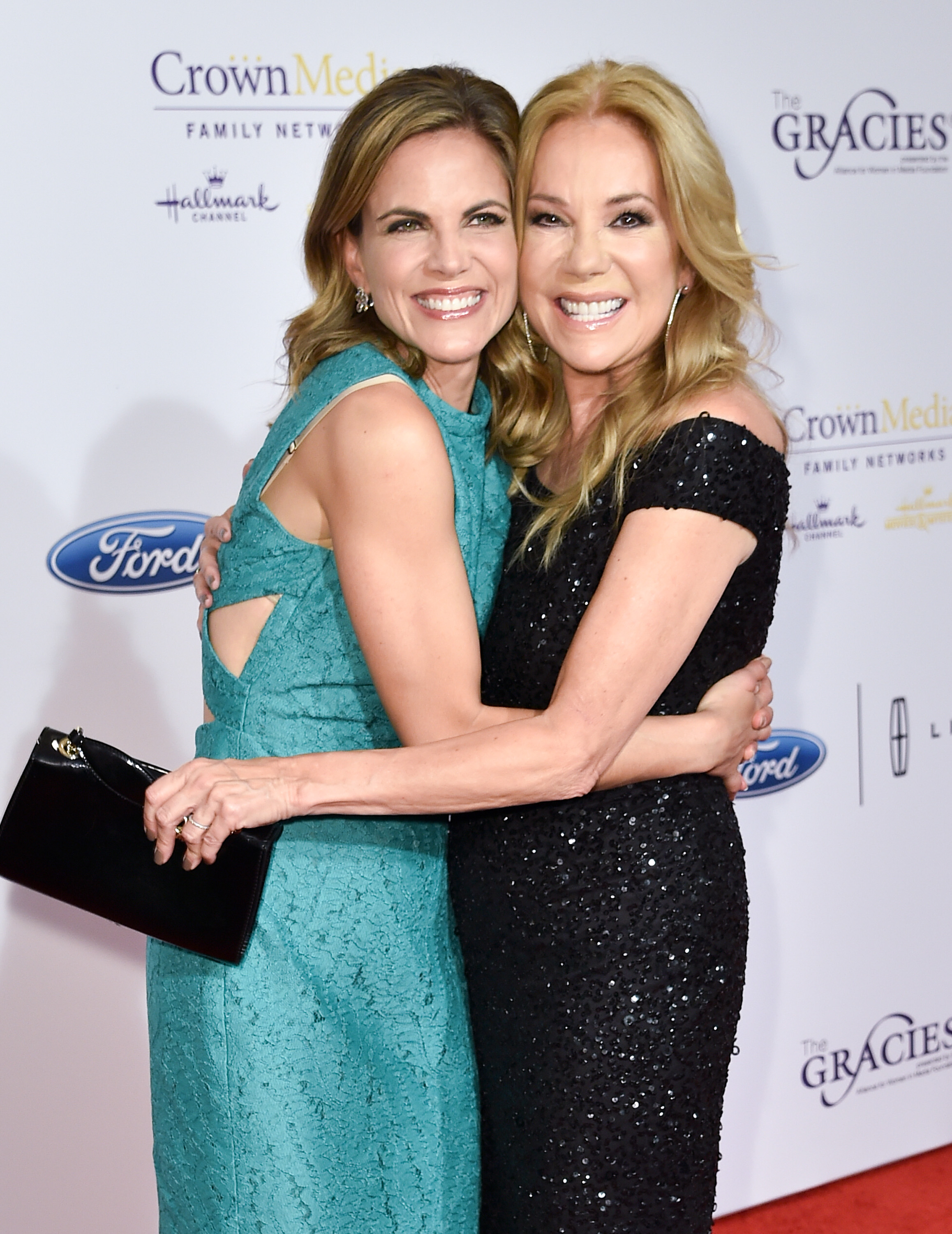 Natalie Morales with Kathie Lee Gifford in Adrianna Papell.