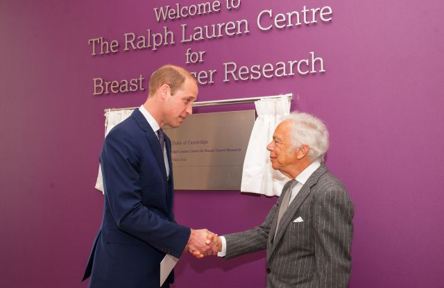 Prince William and Ralph Lauren at the opening of the opening of the cancer research center in London.