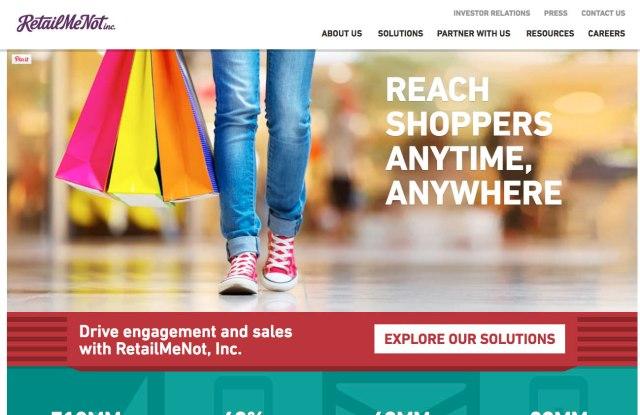RetailMeNot's recent promotions index.