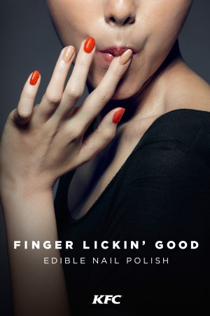 The ad showing KFC's new edible nail polishes.