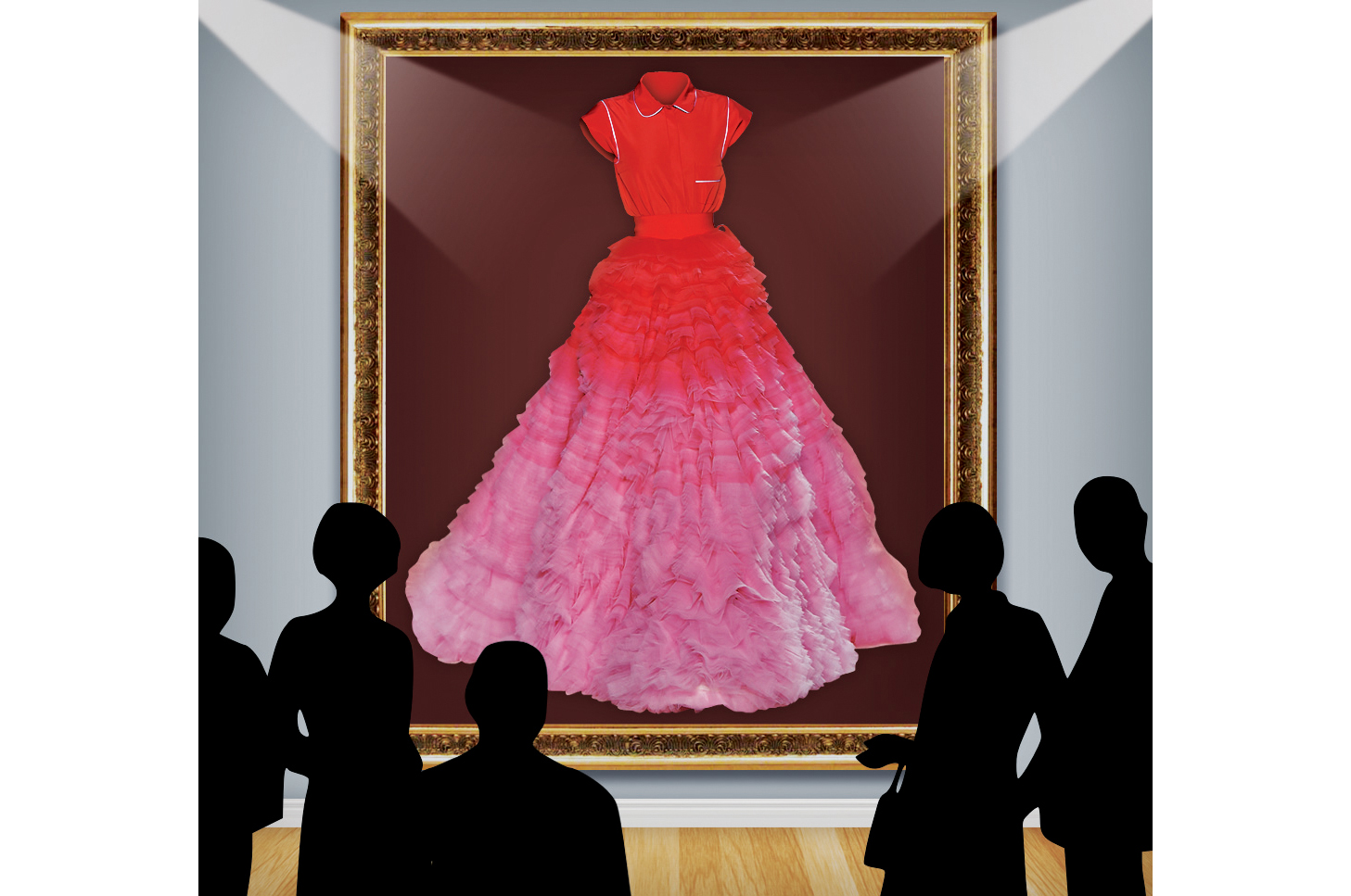 Giambattista Valli's pajama shirt and tiered tulle ballskirt from fall 2014 couture on display at the Cooper Hewitt Museum.