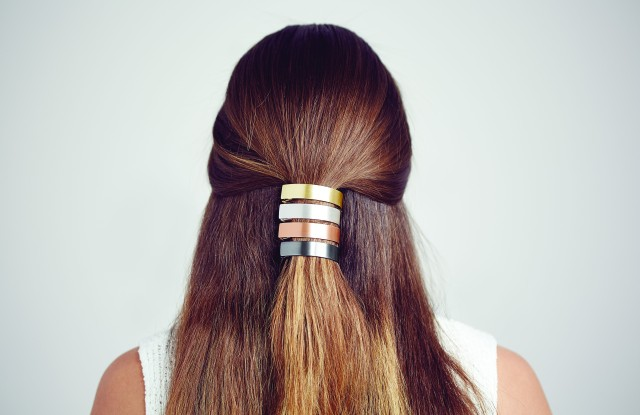 Four varieties of the pony tail clip from Jen Atkin's collection with Chloe + Isabel.