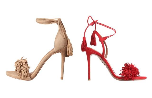 "Steve Madden's ""Sassey"" stiletto-heel on the left and Aquazzura's ""Wild Thing"" stiletto-heel on the right"